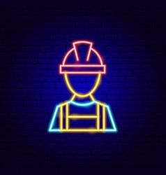 repair worker neon sign vector image