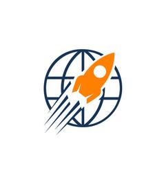 rocket launch icon logo simple sign rocket symbol vector image