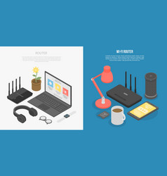 Router wireless banner set isometric style vector