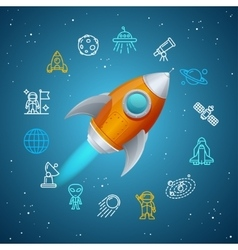 Rovet and Space Icon Concept vector image
