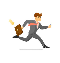 running businessman with suitcase character vector image