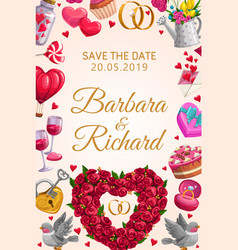save date wedding rings and flowers heart vector image