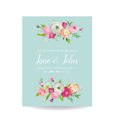 Save the date card with blossom pink flowers vector