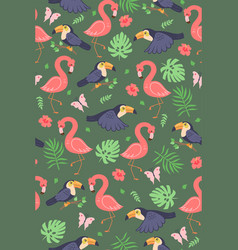 seamless pattern with cute toucans and flamingos vector image
