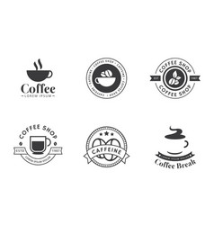 set coffee logo and label in black color vector image