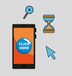 Set smartphone and hourglasses with magnifying vector
