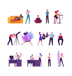 set tiny male and female characters relaxing vector image