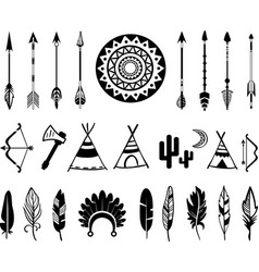 Silhouettes bow and arrow vector