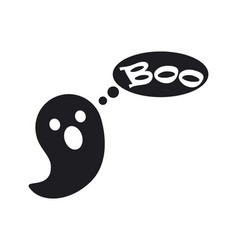 small cute ghost that says boo black silhouette vector image