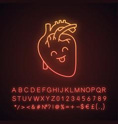 Smiling human heart anatomy neon light icon vector