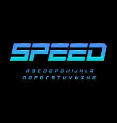Speed alphabet geometric cropped font dynamic vector
