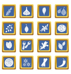 Spice icons set blue vector