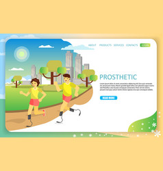 sports prosthetic landing page website vector image