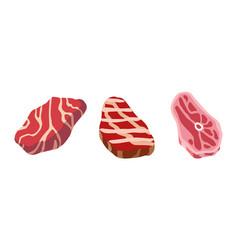 steak icon set cartoon set steak icons vector image