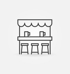 Street beer bar icon in thin line style vector