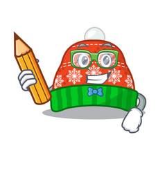 Student winter hat in mascot shape vector