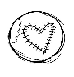Stylish grunge hand drawing of a baseball ball vector