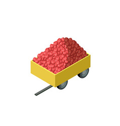 Trailer full of red apples isometric 3d element vector