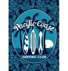 Tropical surfing club poster with palm trees and vector