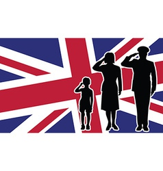 United Kingdom soldier family salute vector image