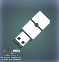 USB flash icon On the blue-green abstract vector image
