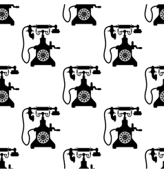 Vintage telephone seamless pattern vector