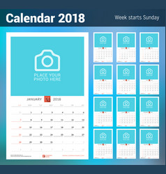 Wall monthly calendar for 2018 year design vector