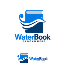 water and book logo template flow learn logo vector image