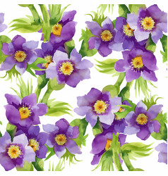 Watercolor seamless pattern with colorful flowers vector