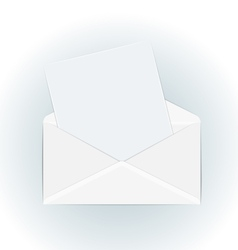 White open envelope with paper card vector