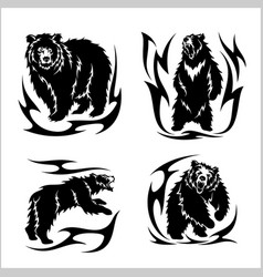 wild bears ina tribal style isolated on white vector image