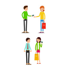 woman and man with shopping bags and credit card vector image