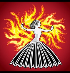 woman figure silhouette fire flames background vector image