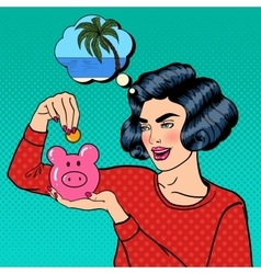 Woman Putting a Coin Into a Money Box Pop Art vector image