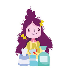 Woman with headache soap bottle spray and tissues vector