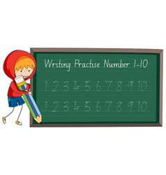 write practise number to ten vector image