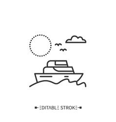 Yachting line icon editable vector
