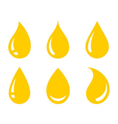 Yellow oil honey drop icons set icons vector
