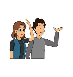 young man and woman icon image vector image