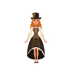 young red-haired lady in steampunk costume woman vector image