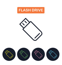 flash drive icon simple thin line image vector image vector image