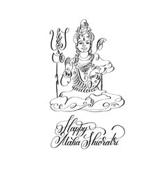 Happy maha shivratri black and white line art vector