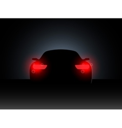 The car in the dark with the included headlights vector image vector image
