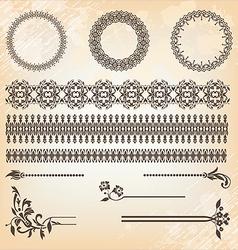 vintage floral pattern elements set vector image vector image