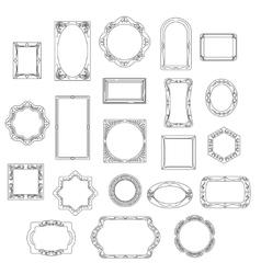 Doodle line frames set vector image