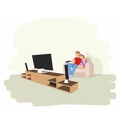 a couple watching tv vector image vector image