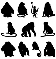 apes silhouettes set vector image vector image
