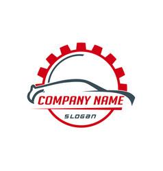 car and gear logo vector image