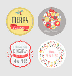 christmas and new year stickers set vintage vector image