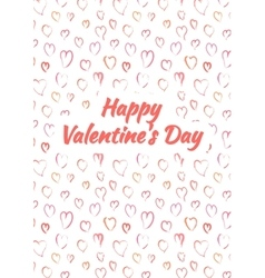 Happy Valentines Day card with pink heards vector image